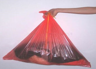Red Disposable Plastic Water Soluble Bags For Medical / Hospital Laundry