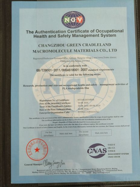 China Changzhou Greencradleland Macromolecule Materials Co., Ltd. certifications
